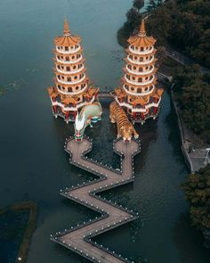 An aerial view of the Dragon and Tiger Pagodas, Kaohsiung, Taiwan. Taiwan Travel, Asia Travel, European Travel, Bangkok Travel, Beach Travel, Brunei, Laos, Nepal, Places To Travel