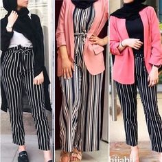 How to wear striped pants with hijab Just Trendy Girls Muslim Fashion, Modest Fashion, Hijab Fashion, Fashion Outfits, Hijabs, Modest Dresses, Modest Outfits, Modest Clothing, Hijab Trends