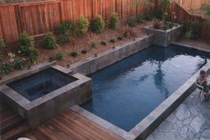 dimensions and depth of pool - About 14' x 30' long. Huettl Landscape Architecture