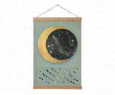 Golden moon / Moon Calendar 2016 - A3, A3+ size / home decor  *Illustration  *This print is printed in size: A3 - 29.7 x 42.0 cm, 11,7 x 16,5 A3+ - 32.9 x