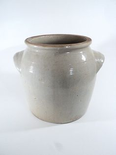 RESERVED Large Gray Glazed Pottery Jar French Confit Pot, Earthenware, French Farmhouse, Rustic Decor, Pickles Pot, Flower Pot, Normandy Pot