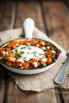 Sweet Potato, Goat Cheese, and Egg Skillet.