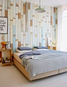 Textured raw, rustic wood walls in the Dutch home of interior designer Hedda Pier and her husband Michiel Lenstra (via maybe an accent wall in a bedroom Interior Design, House Interior, Bedroom Decor, Feature Wall Bedroom, Home, Interior, Bedroom Design, Home Bedroom, Home Decor