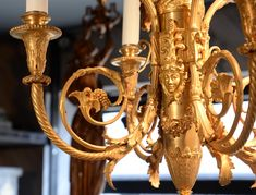 BARBEDIENNE Ferdinand - Very beautiful Louis XVI style chandelier in gilt bronze with heads of goats (Reference - Available at Galerie Marc Maison Ceiling Lamps, Architectural Antiques, Ferdinand, Louis Xvi, French Antiques, Chandeliers, Goats, Sculptures, Bronze