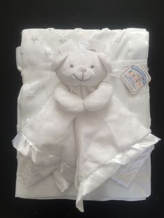 Baby Star Dimple Blanket Fleece & Teddy Bear Comforter White Satin Gift Set New | eBay