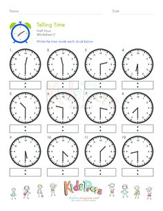 Printables Telling Time To The Hour And Half Hour Worksheets telling time to the half hour worksheets for first grade davezan 1000 images about first