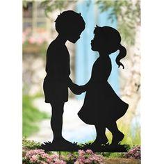 Kissing Shadow Kids Silhouette Cutout Pair