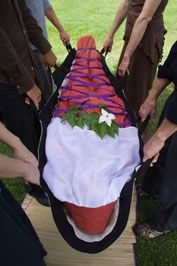 A beautiful, handmade burial shroud for a natural return to the earth from which we were created.