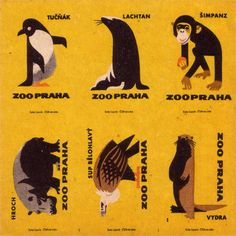 Czechoslovak matchbox labels (uncut sheet) on Flickr.  Prague Zoo (1963)