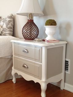 Refinished nightstand in DIY Chalk Paint (Before and After photos)
