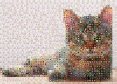 Wow - a granny square cat! WBK Cats by WorkByKnight -- Photo only. One more cat picture with green eyes at link. Bea