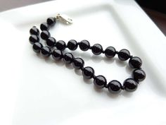 Smooth Round Genuine Black Onyx Bead Bracelet in by KeturahC Only $15
