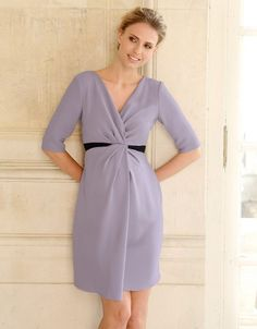 Silver Violet Crepe Drape Maternity Dress | Seraphine