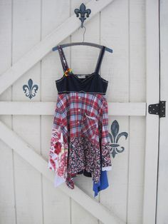 Boho mini tunic, Patchwork rustic, gypsy cowgirl, tunic dress, S, navy red plaid, hippie tunic,Plaid tunic, S,