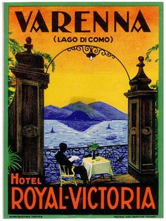 Image result for antique posters Lake Como