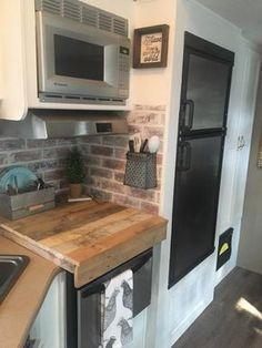 Faux Brick Backsplash, Camper Kitchen, Brick Paneling, Rv Makeover, Trailer Remodel, Remodeled Campers, Farmhouse Style Decorating, Rv Decorating, Rv Living