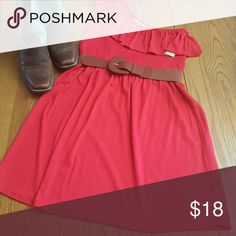 One shoulder dress with loops for belt Super cute dress goes great with cowboy boots for spring. Not sure what color to say it is, it's between a dark coral color and a red color. Belt not included Derek Heart Dresses One Shoulder