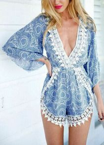 V Neck Lace Trims Loose Blue Jumpsuit