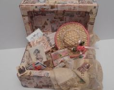 Gaël Miniature Ladys memory trunk French dollhouse shabby chic 1:12th scale furniture