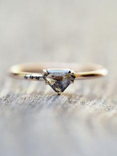 Custom Shield Diamond Ring in Gold