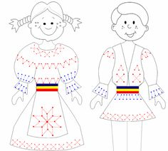 Cusături - costumul popular Projects For Kids, Crafts For Kids, Kindergarten, Toilet Paper Roll Crafts, Youth Activities, Thinking Day, Music For Kids, Free Coloring Pages, Holidays And Events