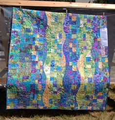 blue and green waves quilt