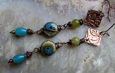 Budding - Long Bohemian Earrings of Turquoise and Apple Green and Rustic Copper by Chilirose on Etsy