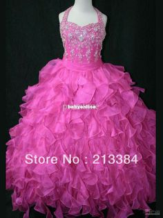 Hot Sale Pretty Halter Sparkling Beading Crystal Black Organza Ball Gown Girl Pageant Dresses
