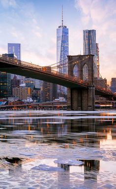 East River, Freedom Tower, Brooklyn Bridge, New York City, USA
