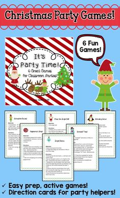 Christmas party time! Get your children up and moving with this set of six active games! Minimum prep for you, maximum fun for your kids! Includes directions for Shoveling Snow, Snowshoe Races, Snowball Toss, Pass the Jingle Bell, Peppermint Drop, and Jingle Beans!