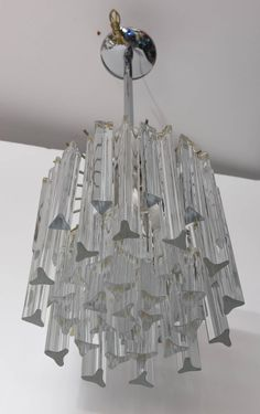 Mid-20th Century Italian Murano Camer Crystal Chandelier | From a unique collection of antique and modern chandeliers and pendants at https://www.1stdibs.com/furniture/lighting/chandeliers-pendant-lights/