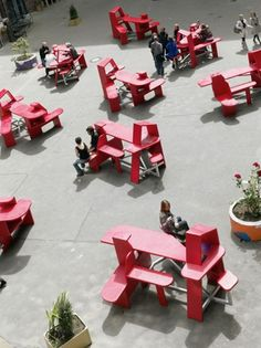 bauhaus style picnic benches