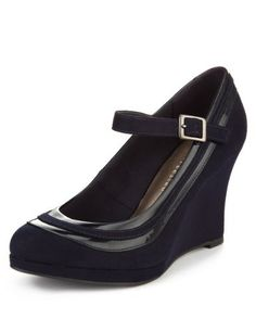 14f0d26e58a M S Collection Wide Fit Dolly Wedge Court Shoes with Insolia® - Marks    Spencer