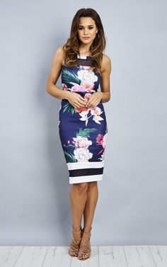 149ceb9695 Navy Floral Midi Dress With Mesh Insert - Lilah Rose - SilkFred