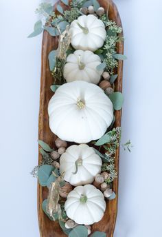 Easy white pumpkin and silver dollar eucalyptus centerpiece in dough bowl. the home i create