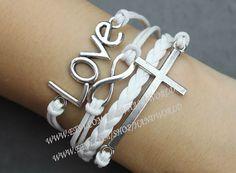 Silvery Love Bracelet Cross Bracelet Infinity Karma by handworld, $3.99