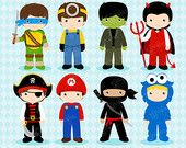 BOYS COSTUMES Digital Clipart,  Halloween Clipart, Costume Party Clipart  / Instant Download
