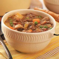 Irish Beef Stew, rich and hearty. Pin leads you back to Taste Of Home and the recipe. This sounds great for St. Pat's day! Countdown beginning for our fun holiday and the need to wear green for the day!