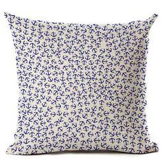 Nautical Anchor Design Decorative Pillow Case Cover x - Cove Cotton