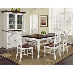 Home Styles Monarch 7 Piece Dining Table Set With 6 Double X Back Chairs White Oak The Pc