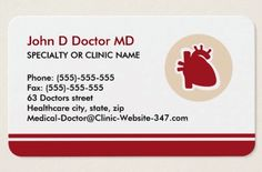 Cardiologist cardiology heart business cards. A modern and elegant business featuring a red and tan logo of a human heart. At the bottom is a red border and the card has customizable text areas for name, specialty or clinic name and other contact information. Elegant physician business card for cardiologists, cardiac surgeons and anyone working with the human heart.