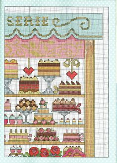 Patisserie 3 of 5 Cross Stitch House, Cross Stitch Kitchen, Cross Stitch Needles, Cross Stitch Kits, Cross Stitch Charts, Cross Stitch Designs, Cross Stitch Patterns, Cross Stitching, Cross Stitch Embroidery
