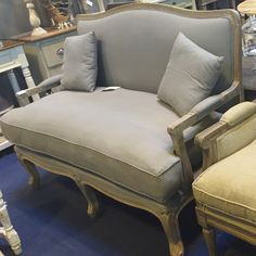 Louis Styled 2 Seater Settee - Ash Finish - Allissias Attic  &  Vintage French Style
