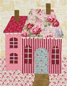 Sweetheart Houses Block 9 Kit: **Please note, this kit is for Block 9 only.** Block 9 of Sweetheart Houses by Shabby Fabrics. Block finishes to 14 House Quilt Patterns, House Quilt Block, Quilt Block Patterns, Quilt Blocks, Quilting Projects, Quilting Designs, Shabby Fabrics, Art Textile, Landscape Quilts