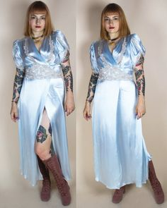 30s Dress / 1930s Dressing Gown / Blue Liquid by AnemoiaVintage
