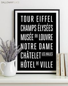 Paris Subway Sign - Typography Print - Modern Home Decor - Art Poster 12x18