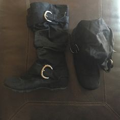 Black Slouchy Boots These black boots have 2 silver buckles and a slouchy fit. Super cute paired with some skinnies and a warm sweater! Shoes Winter & Rain Boots