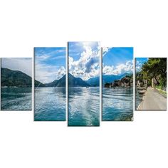 DesignArt 'Kotor Bay on Summer Day Panorama' 5 Piece Photographic Print on Wrapped Canvas Set