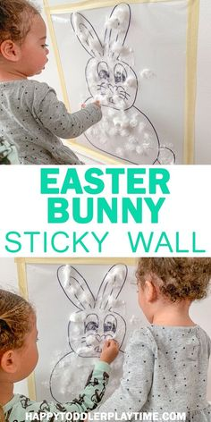 Easter Bunny Sticky Wall – HAPPY TODDLER PLAYTIME Create an adorable fluffy white Easter Bunny in this fun and easy sticky wall activity perfect for babies, toddlers and preschoolers! Easter Activities For Toddlers, Spring Activities, Holiday Activities, Infant Activities, Easy Easter Crafts, Easter Art, Bunny Crafts, Easter Bunny, Easter Ideas