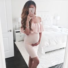 Simple Cheap Chic, Shop Pink Off Shoulder Ruffle Bodycon Maternity For Babyshower Elegant Party Mini Dress online. Cute Maternity Outfits, Stylish Maternity, Maternity Wear, Maternity Dresses, Maternity Fashion, Maternity Styles, Maternity Pictures, Maxi Dresses, Casual Dresses
